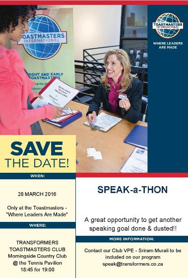 Speakathon - March 2016
