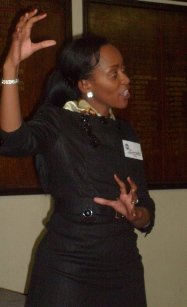 Zanele, a guest, giving her award winning impromptu speech